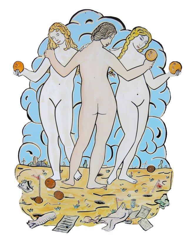 Moritz Götze: Das Spiel, 2011, Email, 115,5 x 85 cm