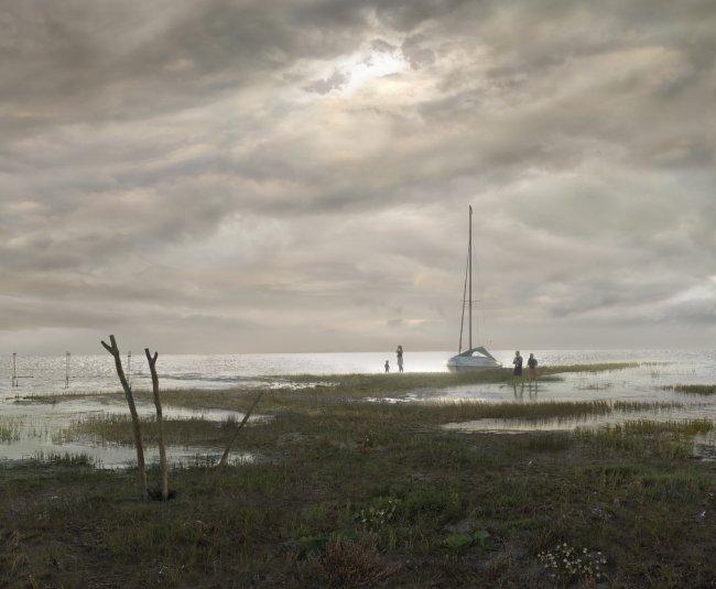 Hiroyuki Masuyama: Flachlandschaft am Greifswalder Bodden (Seestück, Abend an der Ostsee)