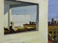 """Jörg Ernert: Nach Hopper """"Kleinstadt-Büro"""", 2. Fassung"""