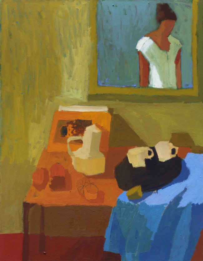 Ofra Ohana: Still life and a glance in the mirror, 2020, Tempera on canvas, 90 x 70 cm