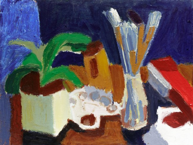 Ofra Ohana: Still life with an ornamented vase, 2019, Tempera and Oil on canvas, 35 x 45 cm