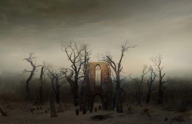 Hiroyuki Masuyama: Abtei im Eichwald (nach Caspar David Friedrich, 1808-10)