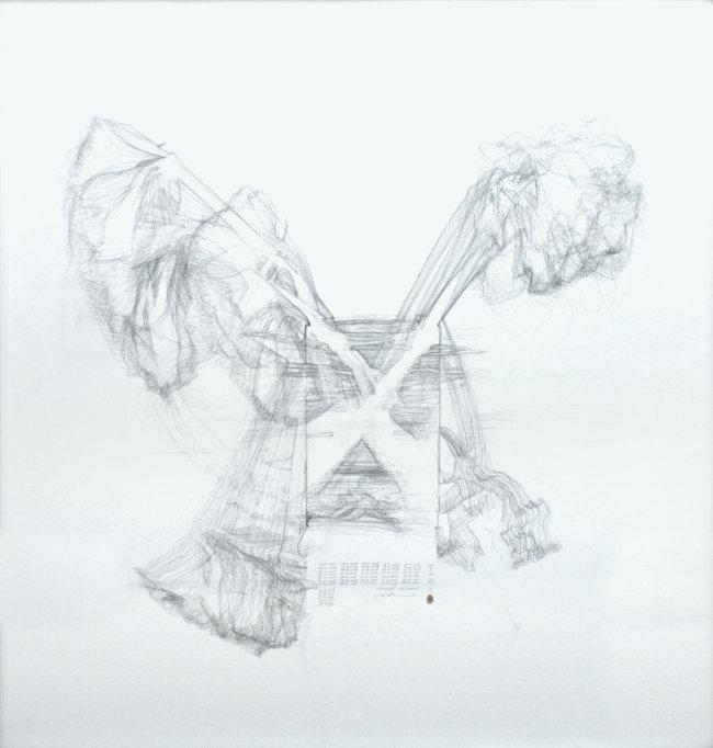 Hiroyuki Masuyama: Amaryllis No.01, 25. 11. 2019 - 05.01.2020, 2019/2020, Bleistift auf Papier, 130 x 140 x 6 cm