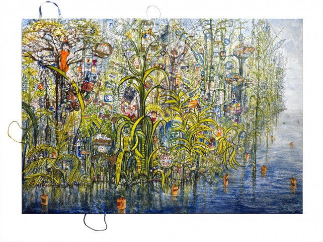 Thitz: Amazonia Utopica, 2020, Acryl und Tüten auf Leinwand, 140 x 200 cm