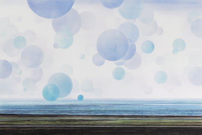 Wieland Payer: Atlantic, 2018, Pastell und Kohle auf grundiertem MDF, 80x120cm