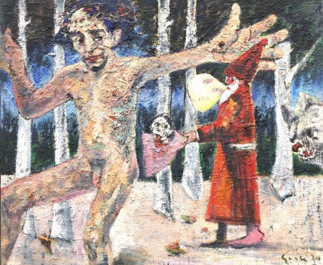 Harald Reiner Gratz: Christus tanzt auf Golgatha, 2020, Öl auf Leinwand, 100 x 120 cm