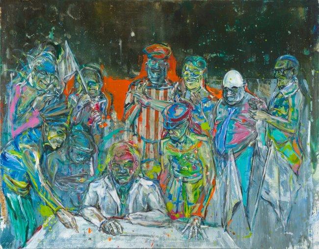 Undine Bandelin: Das Gesetz, 2019, Mischtechnik auf Leinwand, 180 x 230 cm