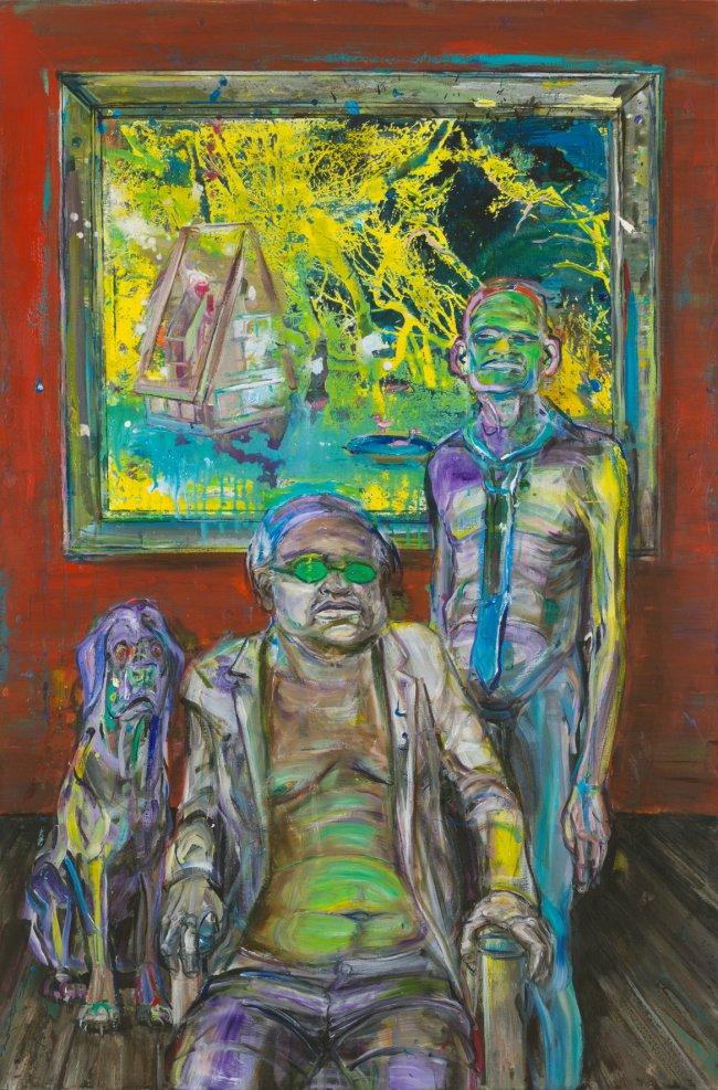Undine Bandelin: Der Patron, 2019, Mischtechnik auf Leinwand, 150x100 cm
