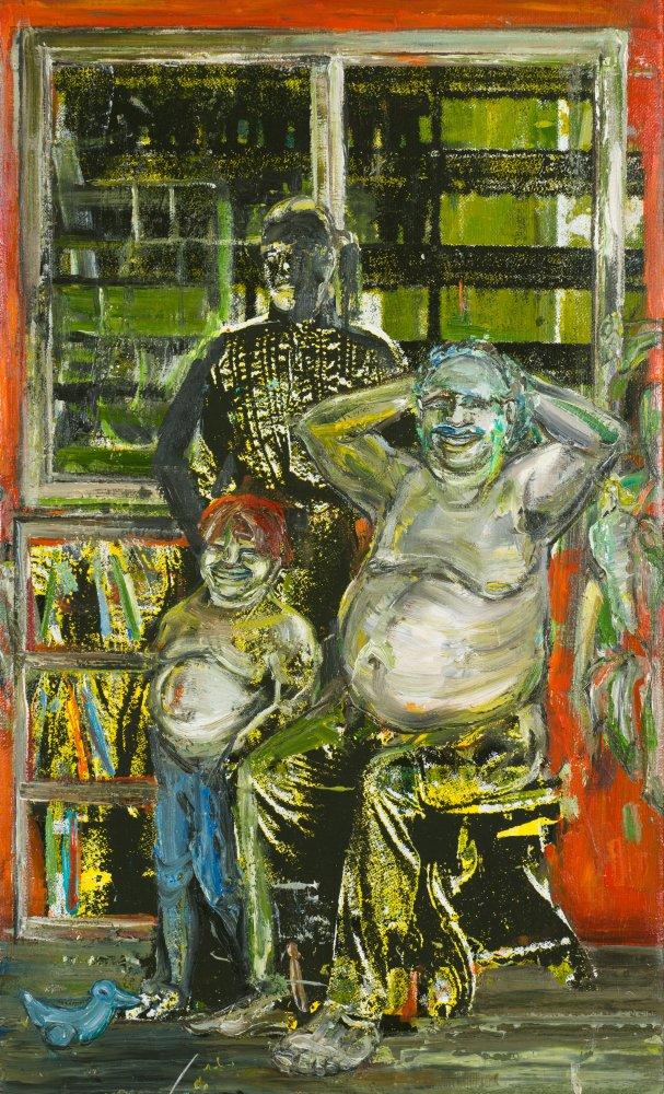 Undine Bandelin: Der Schatten, 2020, Siebdruck und Mischtechnik auf Leinwand, 50 x 30 cm