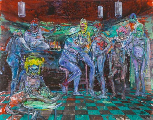 Undine Bandelin: Der Tresen, 2018, Mischtechnik auf Leinwand, 230 x 180 cm