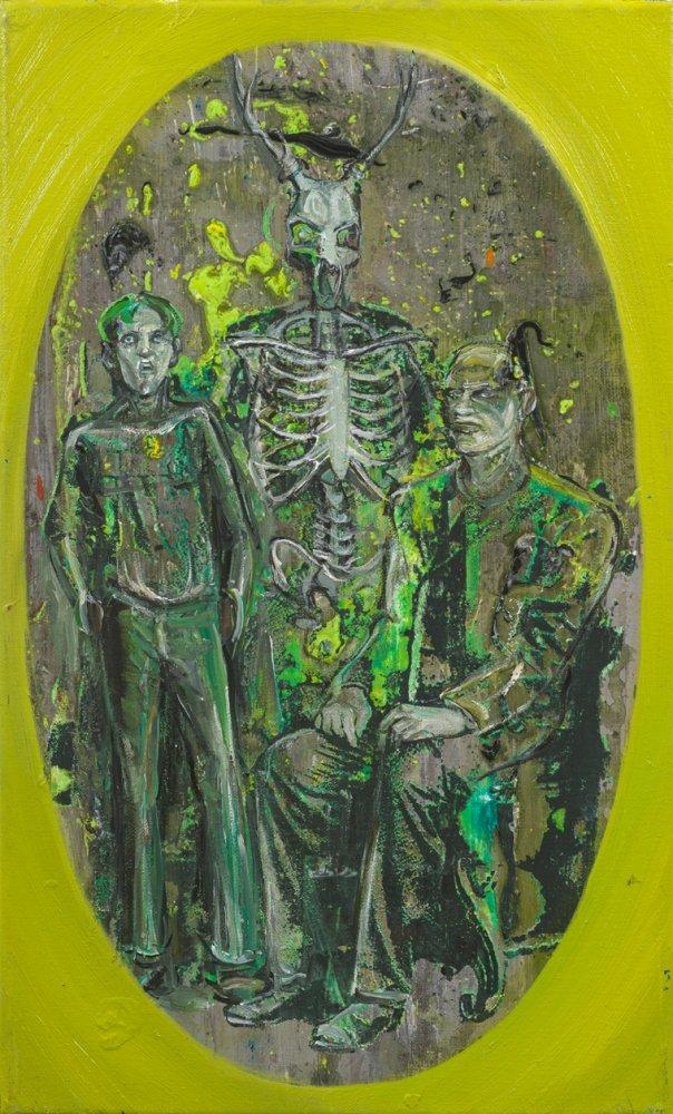 Undine Bandelin: Der Witwer, 2021, Siebdruck und Mischtechnik auf Leinwand, 50 x 30 cm