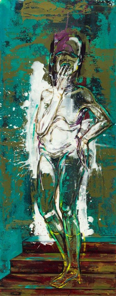 Undine Bandelin: Die grüne Witwe, 2017, Mischtechnik auf Leinwand, 90 x 230 cm