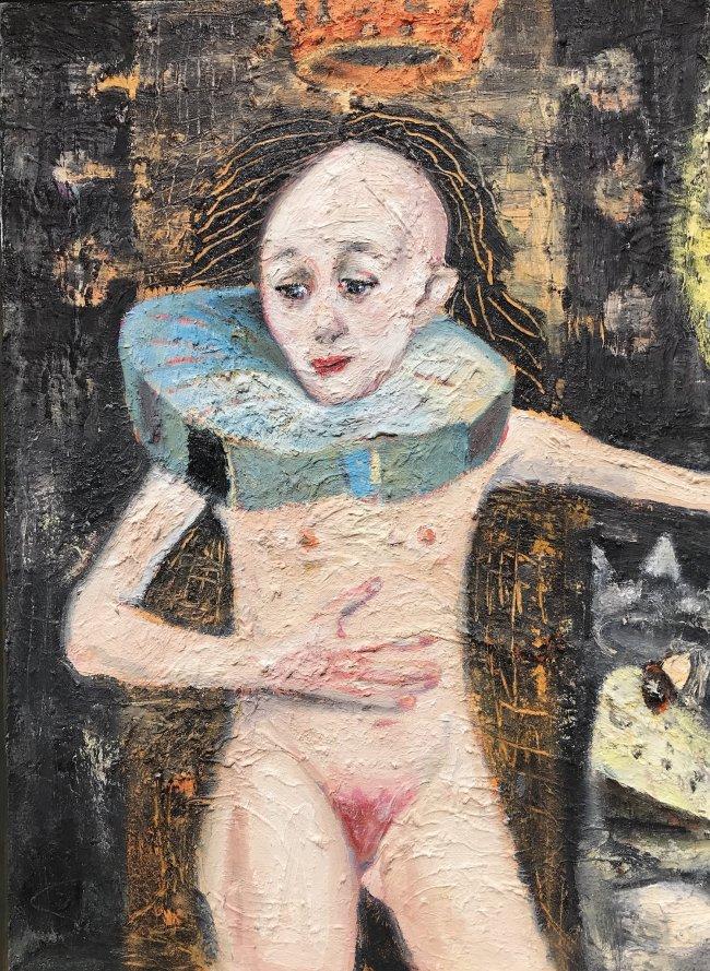 Harald Reiner Gratz: Die jungfräuliche Königin Elizabeth II, 2020, Öl auf Leinwand, 100 x 80 cm