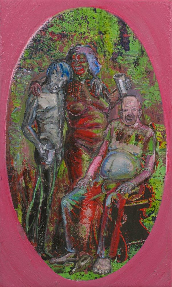 Undine Bandelin: Die Trinker, 2021, Siebdruck und Mischtechnik auf Leinwand, 50 x 30 cm