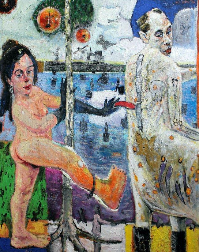 Harald Reiner Gratz: Eine Liebe in Dünkirchen, 2020, Öl auf Leinwand, 150 x 120 cm