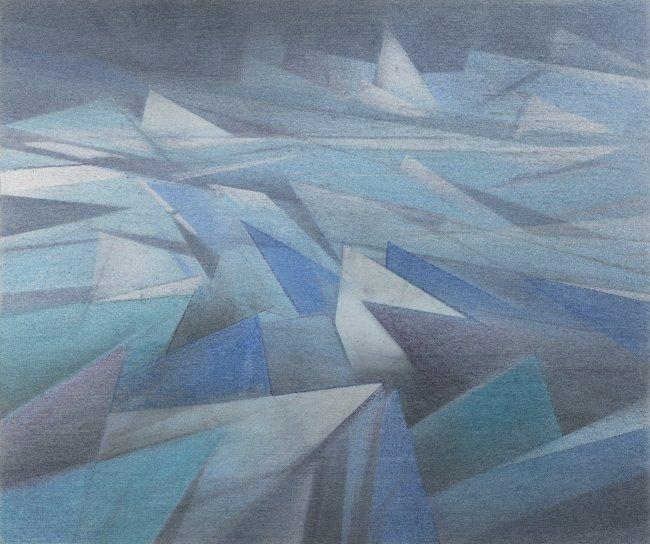Wieland Payer: Eismeer, 2020, Pastell und Kohle auf grundiertem MDF, 15x18cm