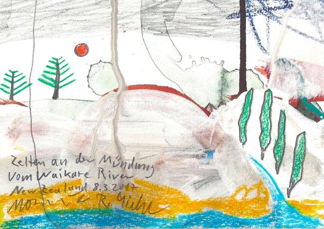 Moritz Götze: Zelten an der Mündung vom Waikare River