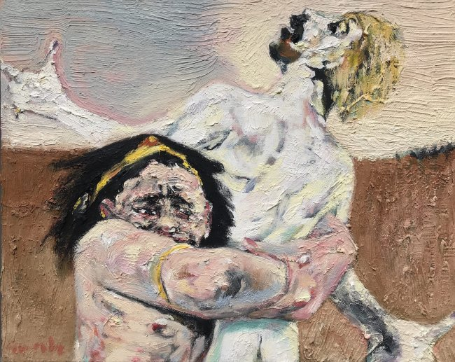 Harald Reiner Gratz: Herakles und Antaios, 2020, Öl auf Leinwand, 40 x 50 cm