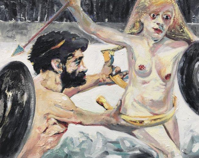 Harald Reiner Gratz: Herakles und der Gürtel der Hippolyte, 2020, Öl auf Leinwand, 40 x 50 cm
