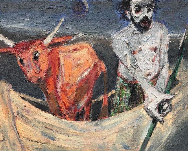 Harald Reiner Gratz: Herakles und der Stier des Poseidon, 2020, Öl auf Leinwand, 40 x 50 cm