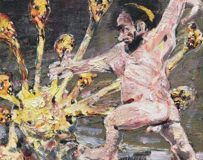 Harald Reiner Gratz: Herakles und die lernäische Hydra, 2020, Öl auf Leinwand, 40 x 50 cm