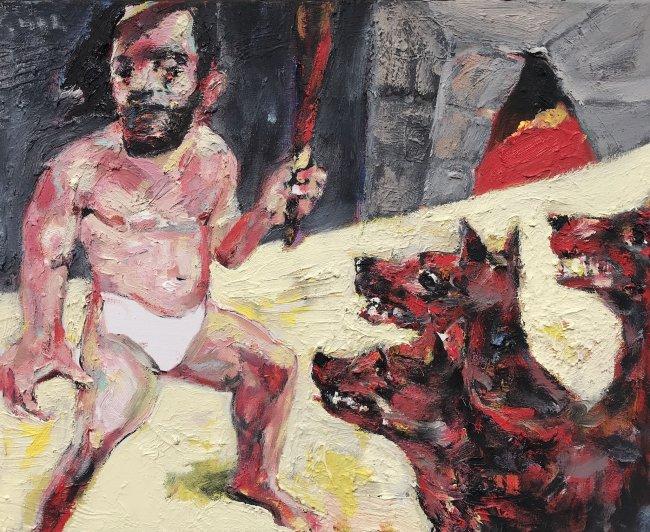 Harald Reiner Gratz: Herakles und Kerberos, 2020, Öl auf Leinwand, 40 x 50 cm