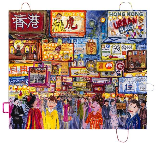Thitz: Hongkong Urban Bag Art, 2019, Acryl und Tüten auf Leinwand, 140 x 160 cm