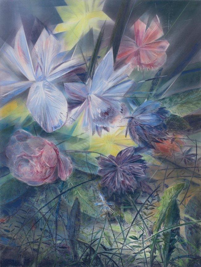 Wieland Payer: Iris, 2021, Pastell und Aquarell auf grundiertem MDF, 80 x 60 cm