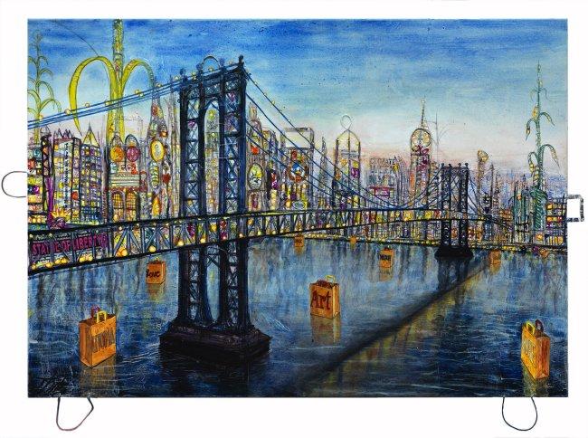 Thitz: New York Manhattan Bag at Bridge UC, 2019, Acryl und Tüten auf Leinwand,140 x 200 cm