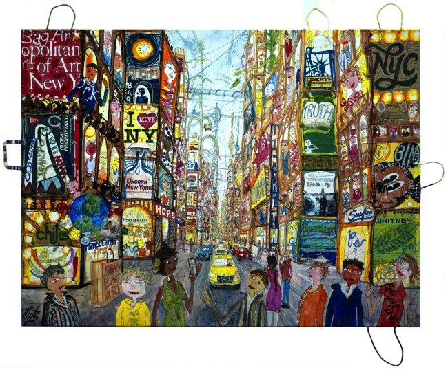 Thitz: New York New, 2021, Acryl und Tüten auf Leinwand, 120 x 160 cm