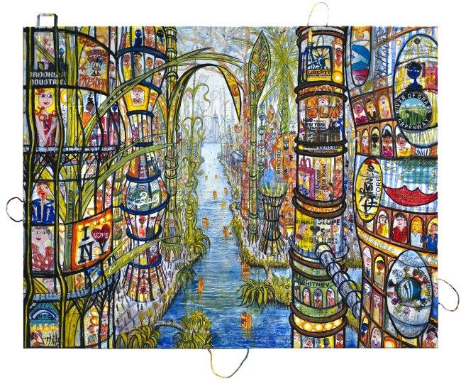 Thitz: New York Utopia at Brooklyn, 2020, Acryl und Tüten auf Leinwand, 140 x 180 cm