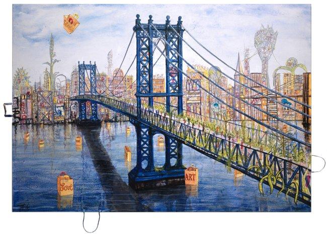 Thitz: New York Utopia at Manhattan Bridge, 2020, Acryl und Tüten auf Leinwand, 140 x 200 cm
