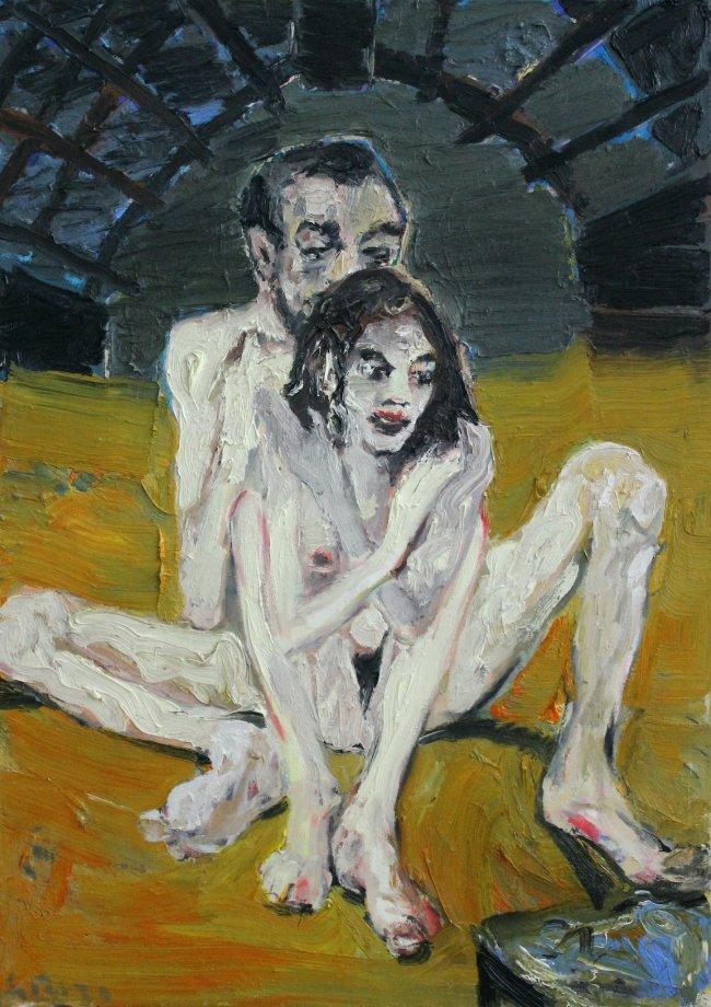 Harald Reiner Gratz: Paar, 2019, Öl auf Leinwand, 100 x 70 cm