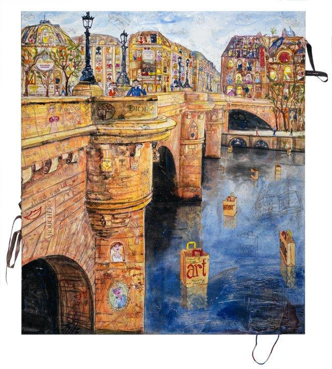 Thitz: Paris Entre Nous, 2021, Acryl und Tüten auf Leinwand, 160 x 140 cm