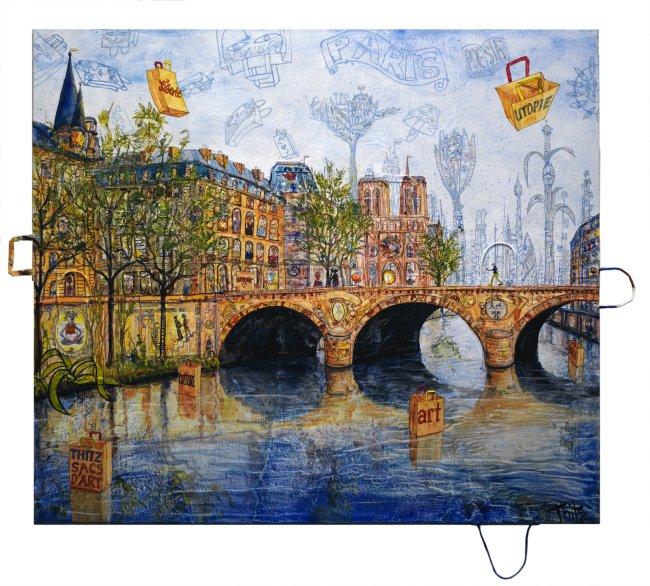 Thitz: Paris Liberté, 2020, Acryl und Tüten auf Leinwand, 140 x 160 cm