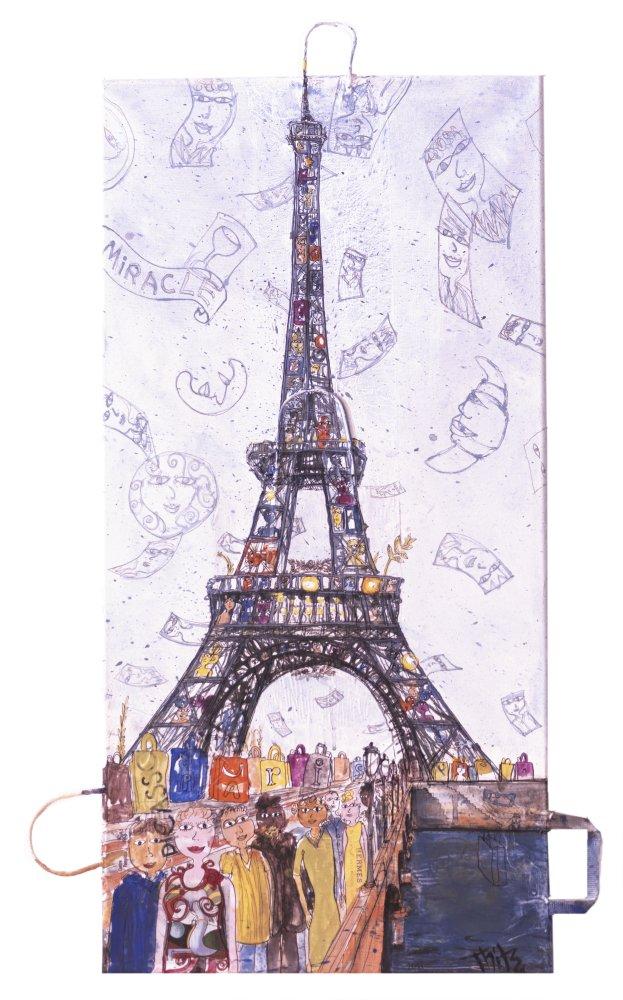Thitz: Paris Tour Miracle, 2017, Acryl und Tüten auf Leinwand, 100 x 50 cm