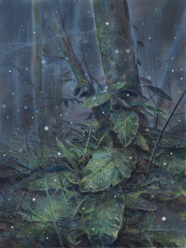 Wieland Payer: Priessnitzgrund, 2021, Pastell und Aquarell auf grundiertem MDF, 80 x 60 cm