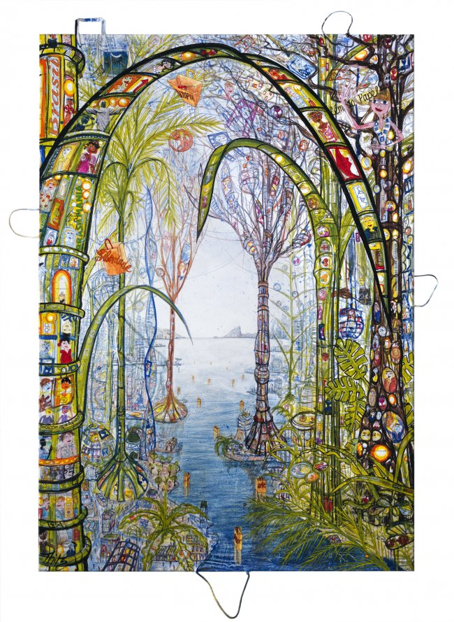 Thitz: Rio Utopian City, 2021, Acryl und Tüten auf Leinwand, 200 x 140 cm