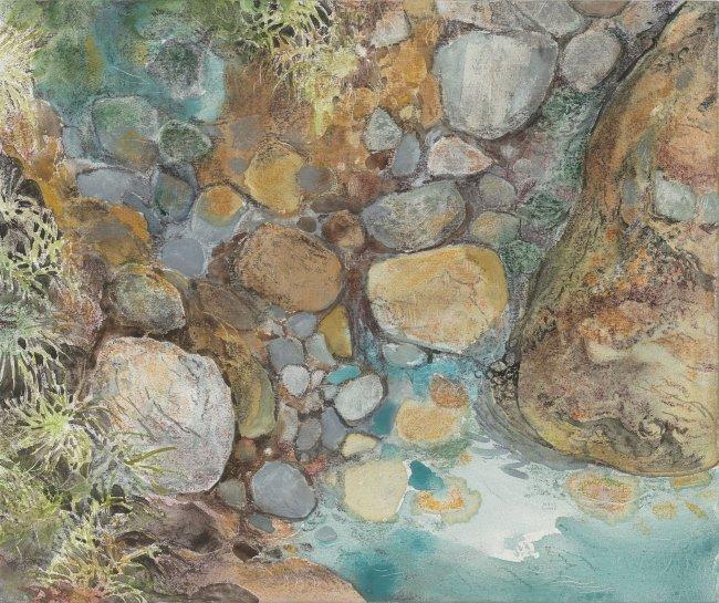 Wieland Payer: Schwefelbach, 2020, Pastell und Aquarell auf grundiertem MDF, 15x18cm