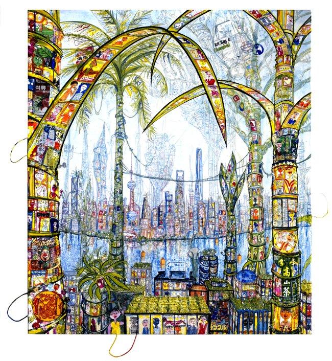 Thitz: Shanghai Utopian City, 2020, Acryl und Tüten auf Leinwand, 160 x 140 cm