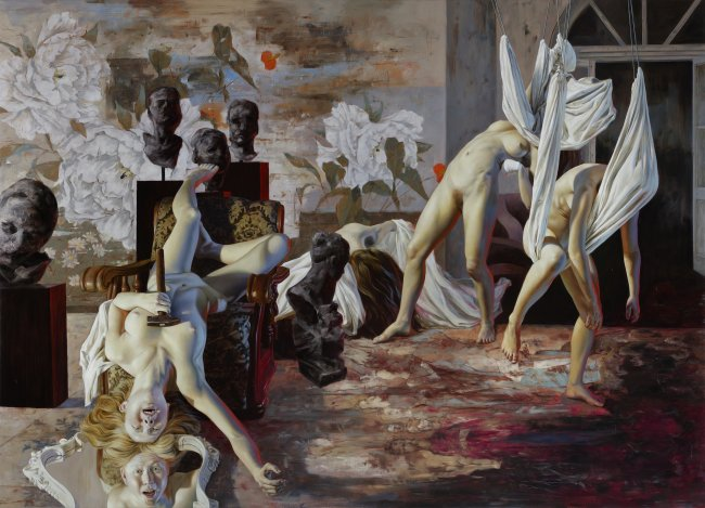 Nguyen Xuan Huy: The mirror, 2020, Öl auf Leinwand, 180 x 250 cm