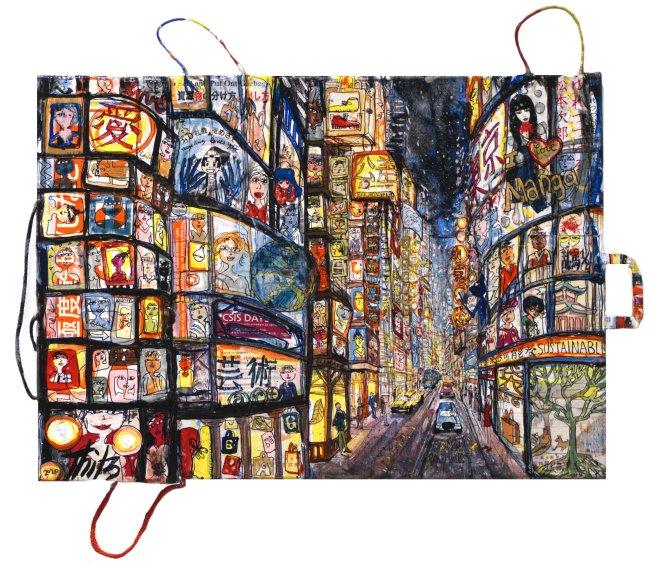 Thitz: Tokyo Night, 2020, Acryl und Tüten auf Leinwand, 50 x 70cm