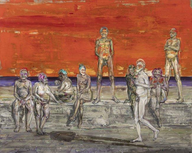 Undine Bandelin: Die Promenade, 2020, Öl und Acryl auf Leinwand, 200 x 250 cm
