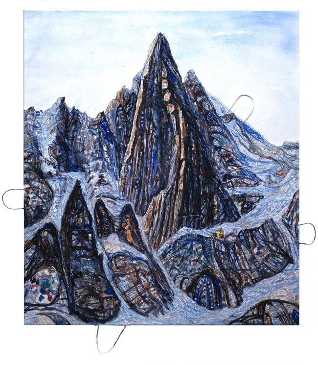 Thitz: Utopian Civilizations Montblanc, 2020, Acryl und Tüten auf Leinwand, 160 x 140 cm