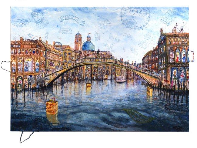 Thitz: Venezia Biennale Project Bag Art Global UC, 2019, Acryl und Tüten auf Leinwand,140 x 200 cm