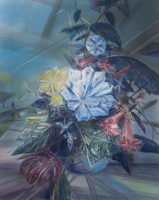 Wieland Payer: Winden, 2021, pastel and watercolor on primed MDF, 40 x 32 cm, 1800 euros