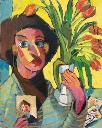 Ofra Ohana: Woman with tulips, 2017, oil on canvas, 72 x 58 cm