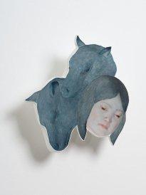 Michiko Nakatani: Mask in the Bright Day, 2019, resin, plaster, pigment, steel, 420 x 400 x 95 mm