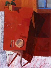 Ofra Ohana: Dinner table (or two red trapeze), 2020, Tempera and oil on canvas, 148x196 cm