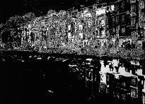 Dana Meyer: Hanoi II, 2014, Holzschnitt auf Papier, Bildformat 26 x 42 cm, Papierformat 50 x 70 cm